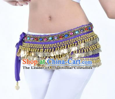 Asian Indian Traditional Belly Dance Purple Belts Waistband India Raks Sharki Waist Accessories for Women