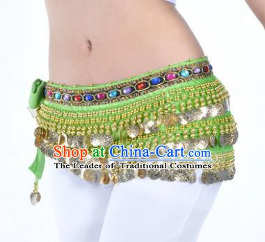 Asian Indian Traditional Belly Dance Green Belts Waistband India Raks Sharki Waist Accessories for Women
