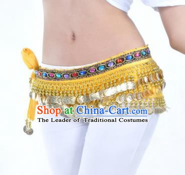 Asian Indian Traditional Belly Dance Yellow Belts Waistband India Raks Sharki Waist Accessories for Women