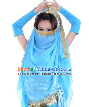 Asian Indian Belly Dance Accessories Yashmak India Traditional Dance Blue Veil for for Women