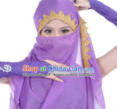 Asian Indian Belly Dance Accessories Yashmak India Traditional Dance Purple Veil for for Women