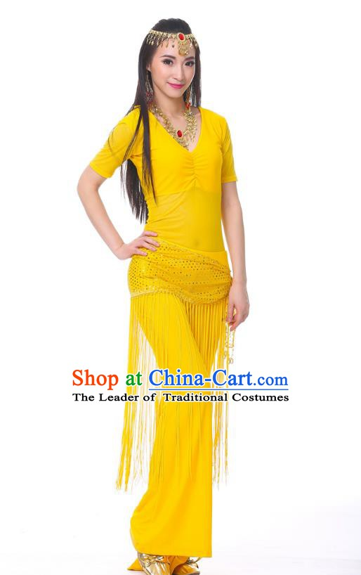 Indian Belly Dance Costume India Raks Sharki Yellow Suits Oriental Dance Clothing for Women
