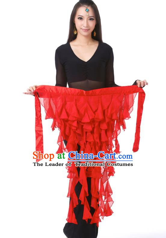 Indian Traditional Belly Dance Belts Red Hip Scarf Waistband India Raks Sharki Waist Accessories for Women