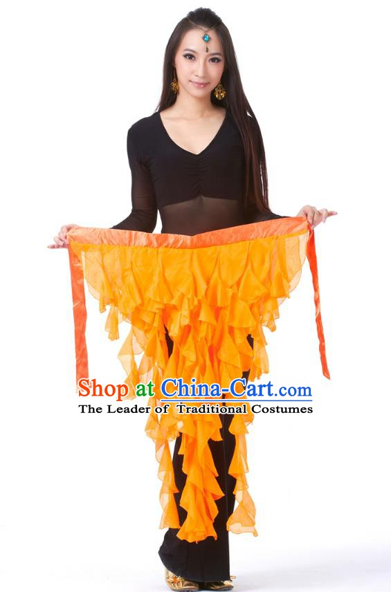 Indian Traditional Belly Dance Belts Orange Hip Scarf Waistband India Raks Sharki Waist Accessories for Women