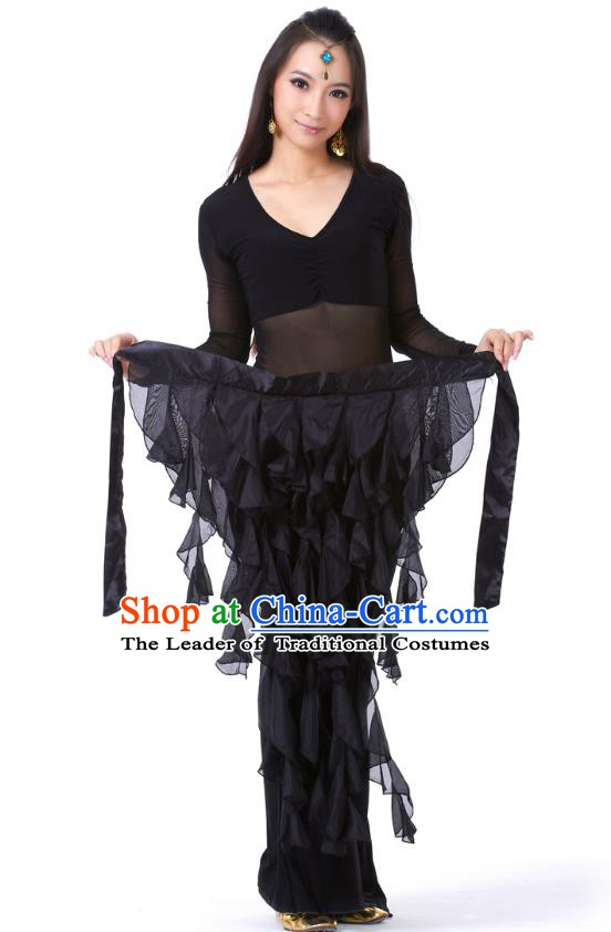 Indian Traditional Belly Dance Belts Black Hip Scarf Waistband India Raks Sharki Waist Accessories for Women
