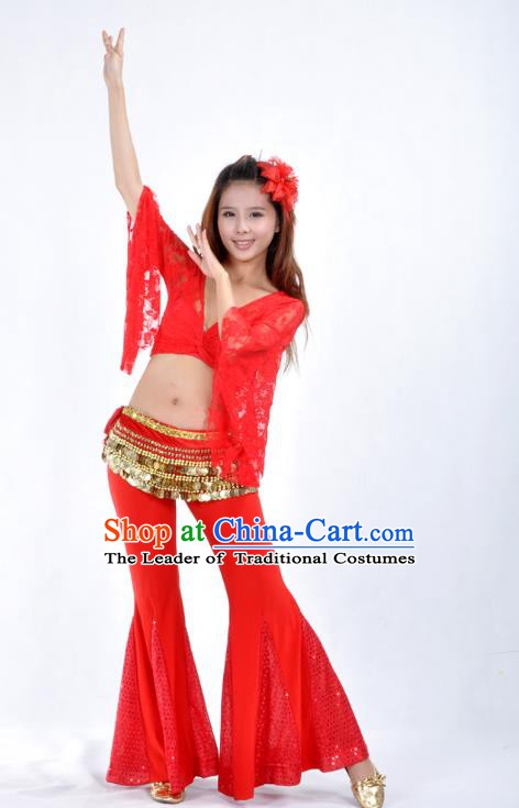 Indian Belly Dance Red Lace Costume India Raks Sharki Suits Oriental Dance Clothing for Women