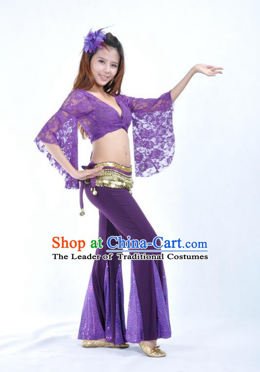 Indian Belly Dance Purple Lace Costume India Raks Sharki Suits Oriental Dance Clothing for Women