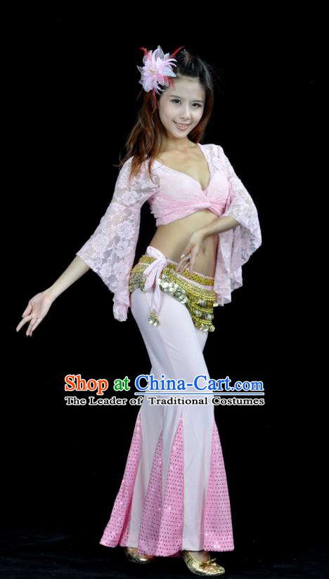 Indian Belly Dance Pink Lace Costume India Raks Sharki Suits Oriental Dance Clothing for Women