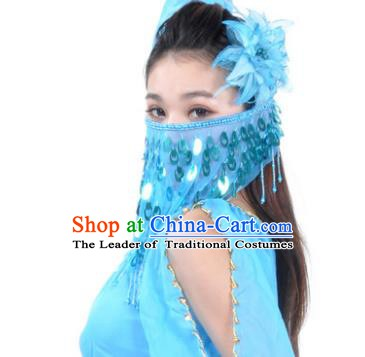 Indian Belly Dance Accessories Blue Paillette Yashmak India Traditional Dance Mask Veil for for Women