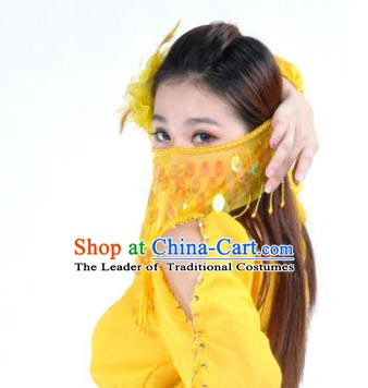 Indian Belly Dance Accessories Yellow Paillette Yashmak India Traditional Dance Mask Veil for for Women