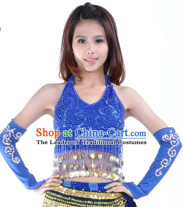 Indian Oriental Dance Belly Dance Costume India Raks Sharki Royalblue Brassiere and Sleevelet for Women