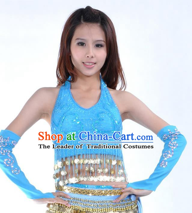 Indian Oriental Dance Belly Dance Costume India Raks Sharki Blue Brassiere and Sleevelet for Women