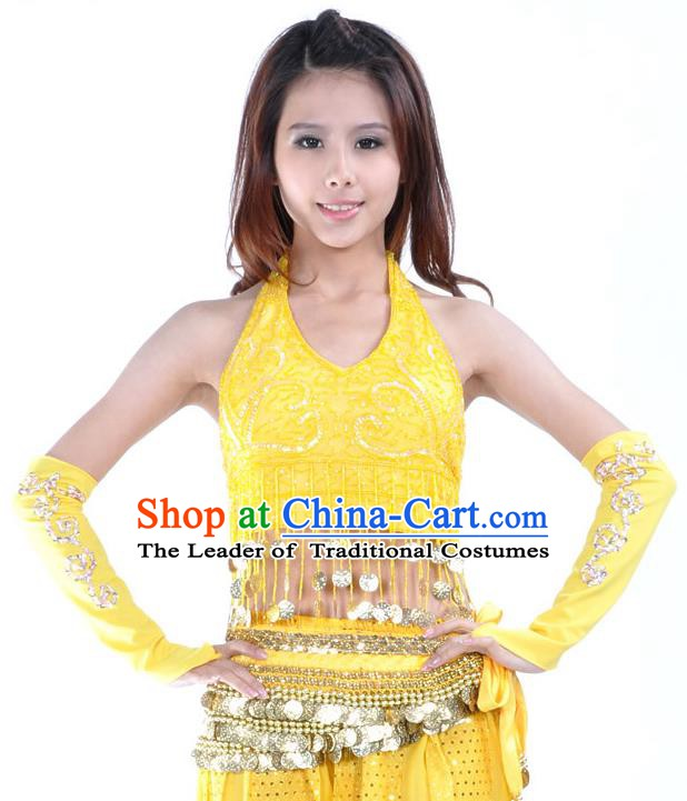 Indian Oriental Dance Belly Dance Costume India Raks Sharki Yellow Brassiere and Sleevelet for Women