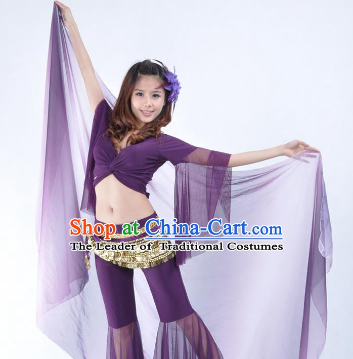 Asian Indian Belly Dance Accessories Purple Gauze Kerchief India Traditional Dance Scarf for for Women