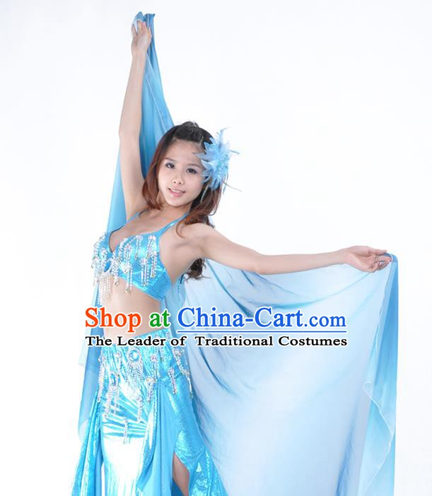 Asian Indian Belly Dance Accessories Blue Gauze Kerchief India Traditional Dance Scarf for for Women