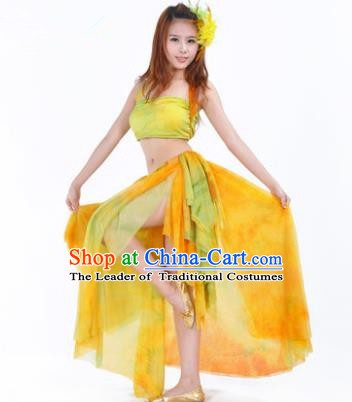 Indian Belly Dance Yoga Yellow Dress, India Raks Sharki Dance Clothing for Women
