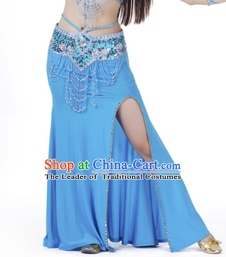 Top Indian Belly Dance Costume Blue Split Skirt, India Raks Sharki Clothing for Women