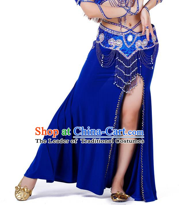 Top Indian Belly Dance Costume Royalblue Split Skirt, India Raks Sharki Clothing for Women