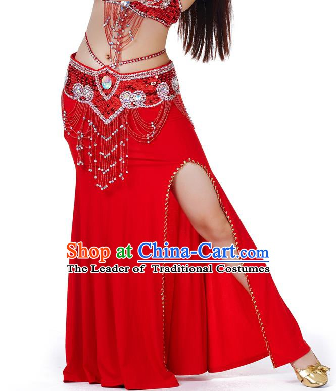 Top Indian Belly Dance Costume Red Split Skirt, India Raks Sharki Clothing for Women
