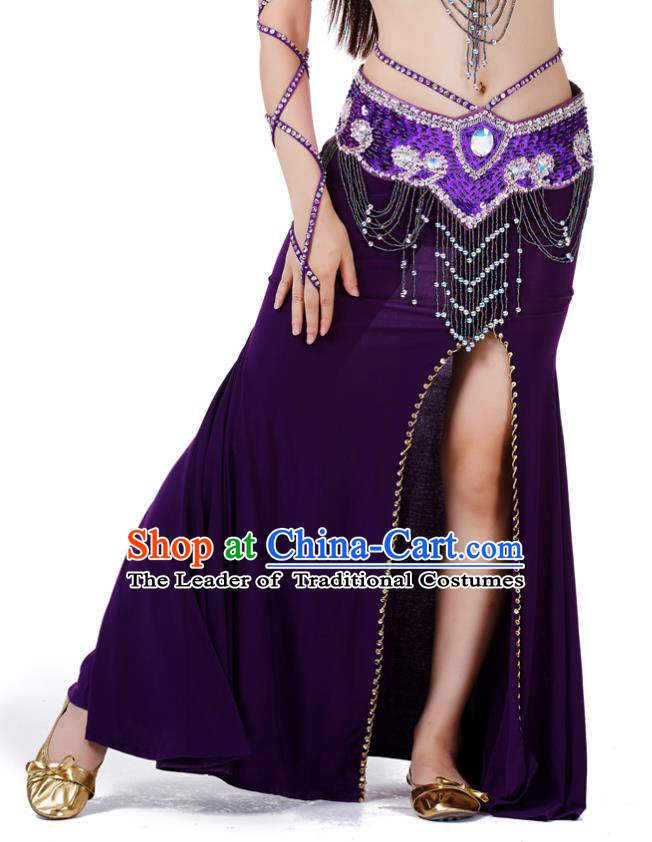 Top Indian Belly Dance Costume Purple Split Skirt, India Raks Sharki Clothing for Women