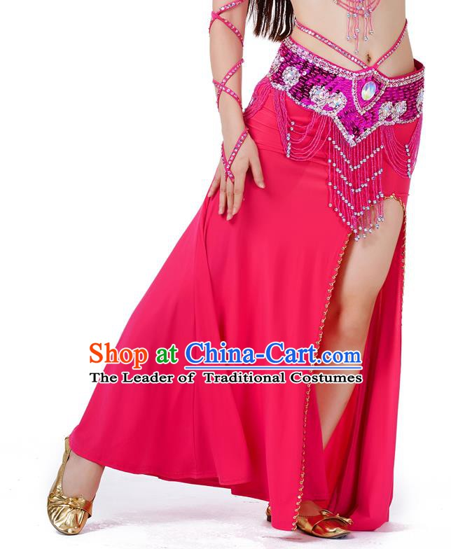 Top Indian Belly Dance Costume Rosy Split Skirt, India Raks Sharki Clothing for Women