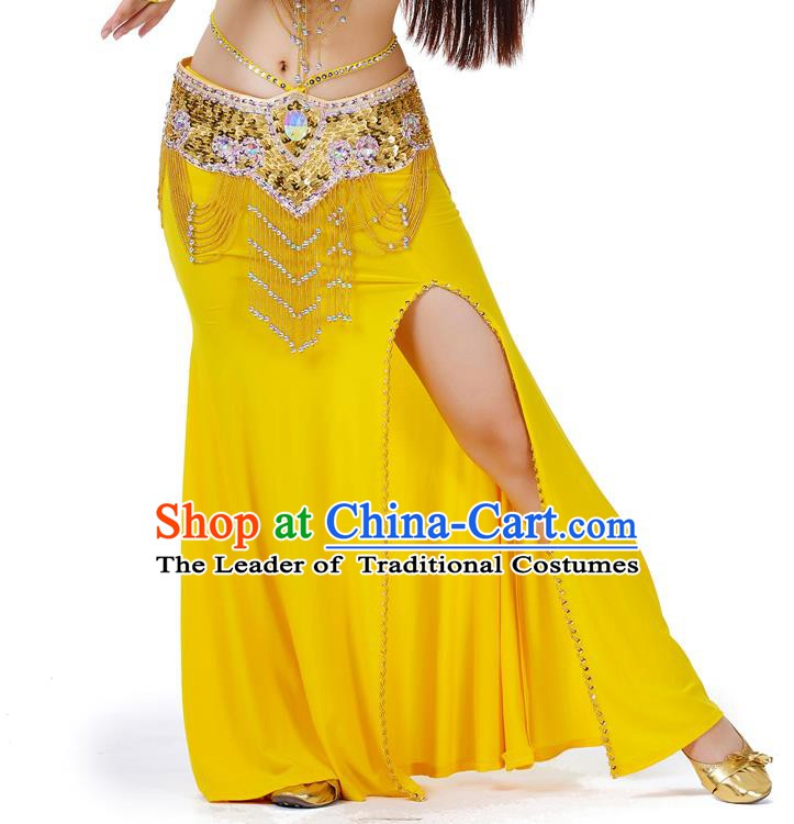 Top Indian Belly Dance Costume Yellow Split Skirt, India Raks Sharki Clothing for Women
