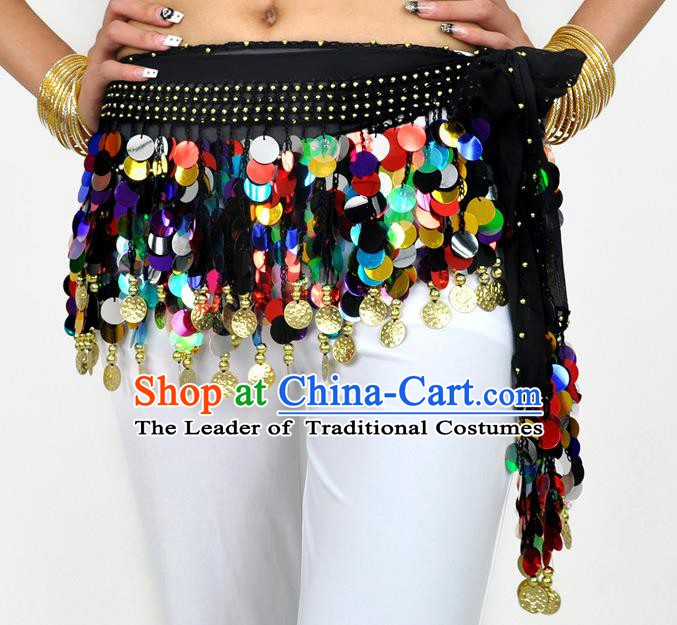 Indian Belly Dance Belts Colorful Paillette Waistband India Raks Sharki Waist Accessories for Women