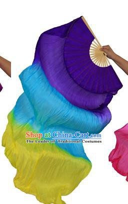 China Folk Dance Three-colour Folding Fans Yanko Dance Purple Silk Fans for for Women