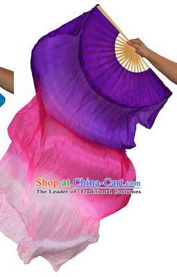 China Folk Dance Three-colour Folding Fans Yanko Dance Deep Purple Silk Fans for for Women
