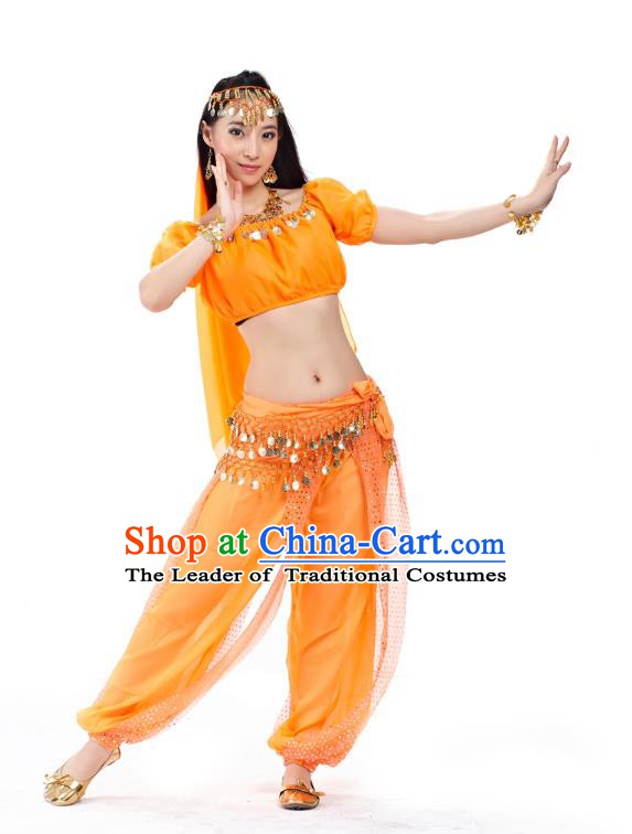 Top Indian Bollywood Belly Dance Costume Oriental Dance Orange Dress, India Raks Sharki Clothing for Women