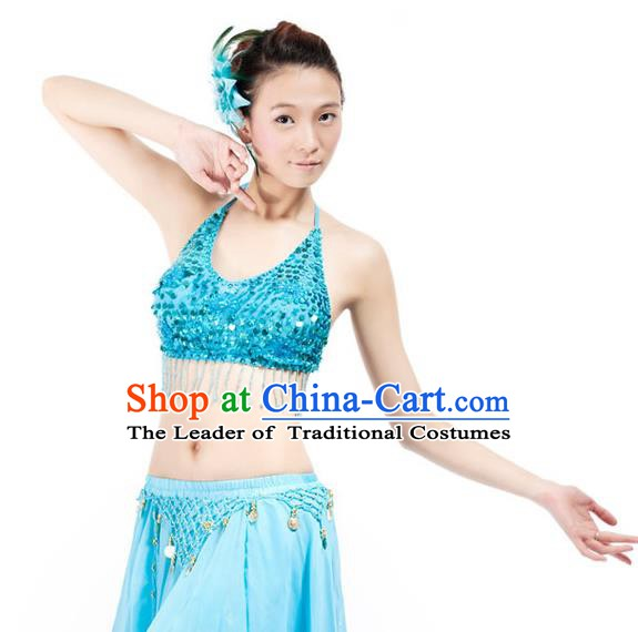 Top Indian Bollywood Belly Dance Costume Oriental Dance Blue Paillette Brassiere for Women