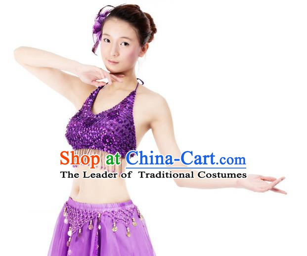 Top Indian Bollywood Belly Dance Costume Oriental Dance Purple Paillette Brassiere for Women
