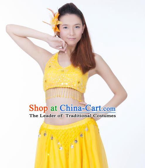 Top Indian Bollywood Belly Dance Costume Oriental Dance Yellow Paillette Brassiere for Women