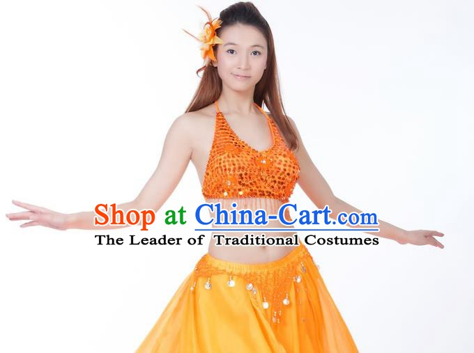 Top Indian Bollywood Belly Dance Costume Oriental Dance Orange Paillette Brassiere for Women