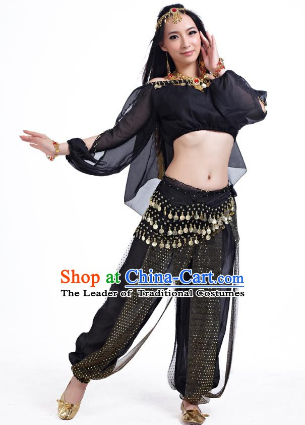 Top Indian Bollywood Belly Dance Black Costume Oriental Dance Stage Performance Clothing for Women