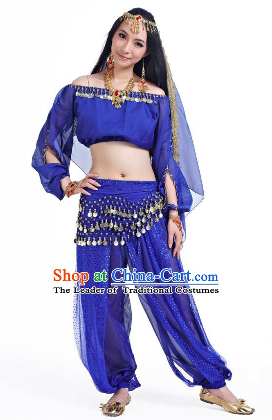 Top Indian Bollywood Belly Dance Royalblue Costume Oriental Dance Stage Performance Clothing for Women