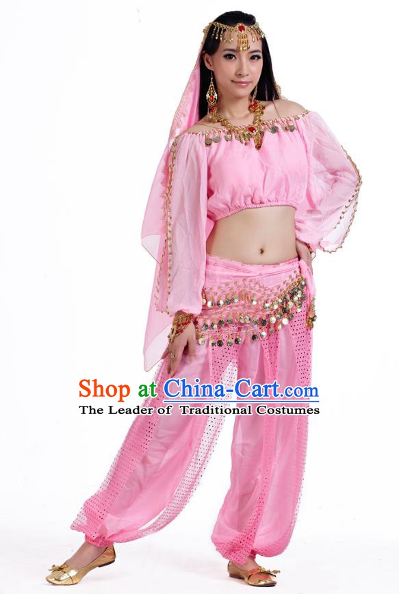 Top Indian Bollywood Belly Dance Pink Costume Oriental Dance Stage Performance Clothing for Women