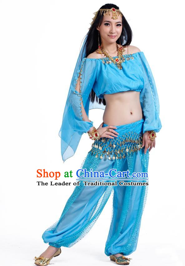 Top Indian Bollywood Belly Dance Blue Costume Oriental Dance Stage Performance Clothing for Women