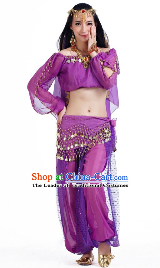 Top Indian Bollywood Belly Dance Purple Costume Oriental Dance Stage Performance Clothing for Women