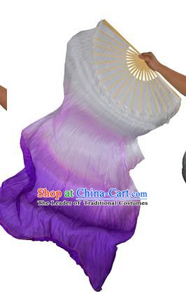 China Folk Dance Folding Fans Yanko Dance Gradient Purple Silk Fans for for Women