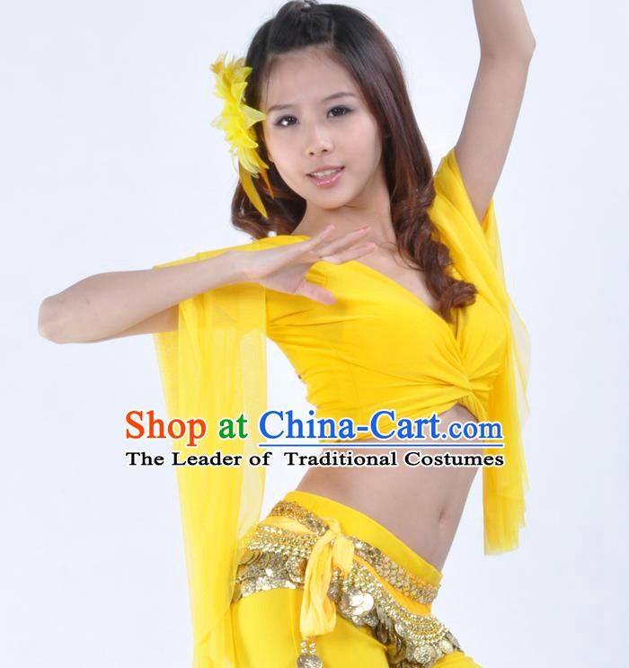 Indian Oriental Dance Belly Dance Costume Upper Outer Garment India Raks Sharki Yellow Blouse for Women