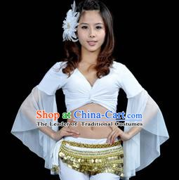 Indian Oriental Dance Belly Dance Costume Upper Outer Garment India Raks Sharki White Blouse for Women