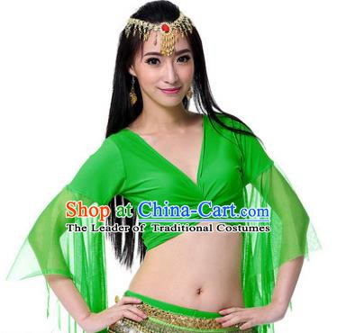 Indian Oriental Dance Belly Dance Costume Upper Outer Garment India Raks Sharki Green Blouse for Women