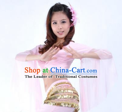 Indian Oriental Dance Belly Dance Costume Upper Outer Garment India Raks Sharki Pink Blouse for Women