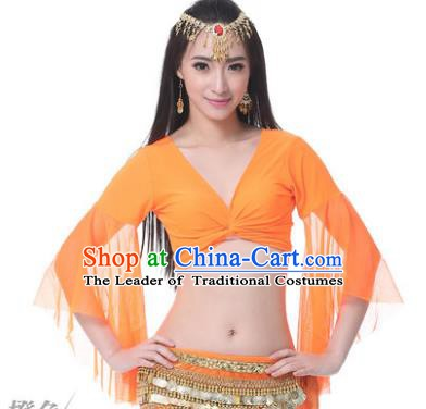Indian Oriental Dance Belly Dance Costume Upper Outer Garment India Raks Sharki Orange Blouse for Women