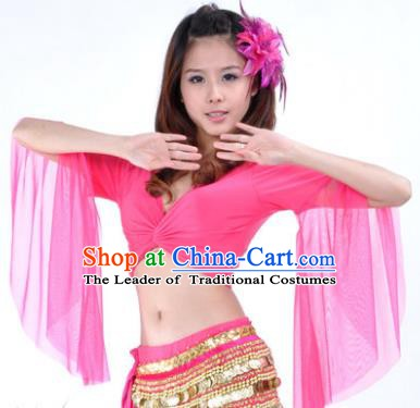 Indian Oriental Dance Belly Dance Costume Upper Outer Garment India Raks Sharki Rosy Blouse for Women