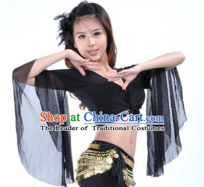 Indian Oriental Dance Belly Dance Costume Upper Outer Garment India Raks Sharki Black Blouse for Women