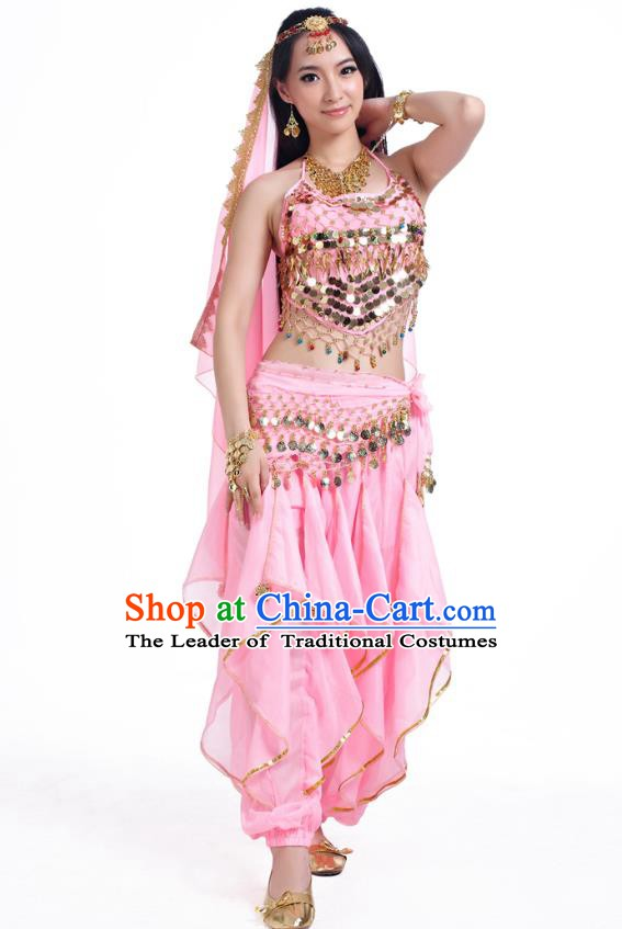 Indian Oriental Belly Dance Pink Costume, India Raks Sharki Bollywood Dance Clothing for Women