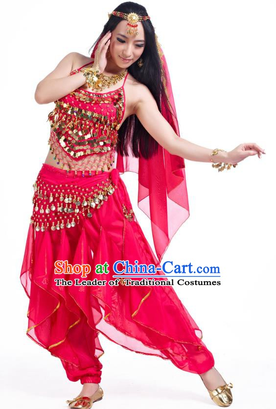 Indian Oriental Belly Dance Rosy Costume, India Raks Sharki Bollywood Dance Clothing for Women