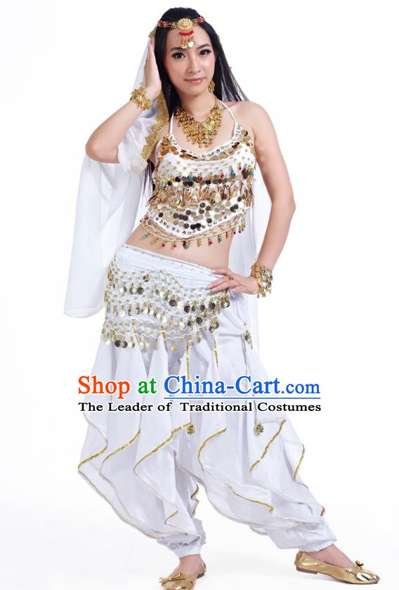 Indian Oriental Belly Dance White Costume, India Raks Sharki Bollywood Dance Clothing for Women